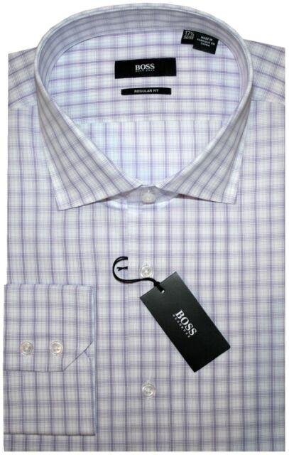 NEW HUGO BOSS WHITE & LILAC PLAID REGULAR FIT CUTAWAY DRESS SHIRT 16.5 32/33