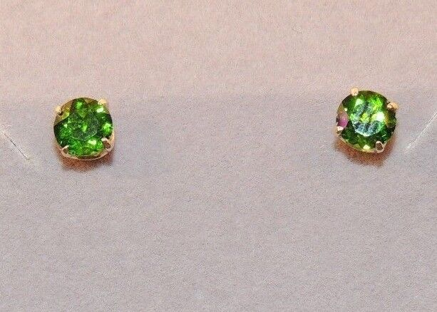 14k gold and 5mm Green Chrome Diopside Post Earrings (7920)