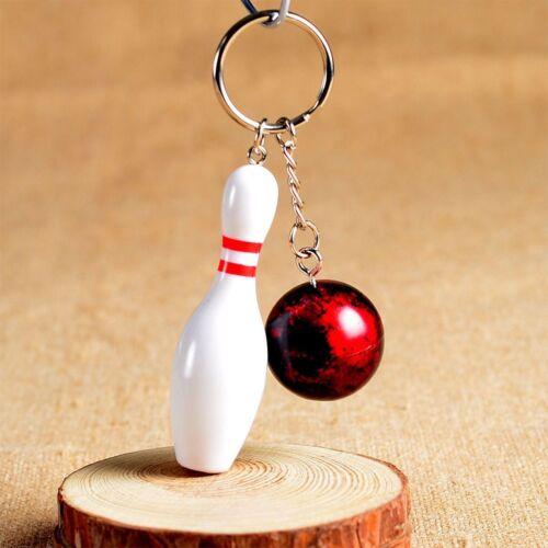 1PC Mini Cute Bowling Pin and Ball Keychain Key Ring 3D Keyfob Fashion Gift
