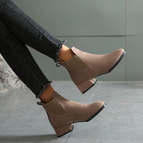 Women Casual Winter Ankle Boots Ladies Block Low Heel Solid Booties Suede Shoes