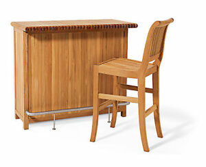 Image Is Loading TEAK BAR TABLE CABINET Amp 2 CHAIRS GARDEN