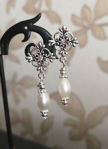 vintage-Style-Filigree-Cross-Stud-Pearl-Drop-Earrings-tibetan-silver-glass-white