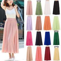 Women Summer Elastic Waist Double Layer Chiffon Pleated Long Maxi Skirt Dress