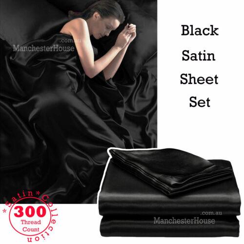 White Black Silver Purple Ivory 300TC 4 Pce SATIN Soft Silk Sheet Set QUEEN KING