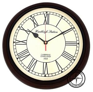 Nautical-Wooden-Wall-Clock-Huntleigh-Station-1924-Roman-Number-Vintage-Gift