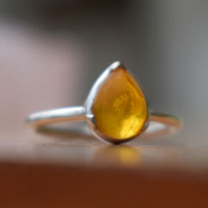 Gift For Woman And Girls Square Amber Gemstone Ring 925 Sterling Silver Ring Cognac Baltic Amber Ring Amber Jewelry Baltic Amber Ring