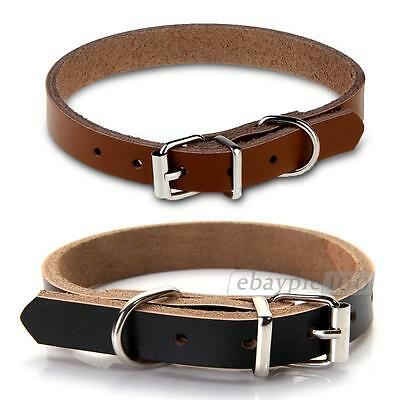 Fashion Cow Leather Dog Pet Cat Puppy Collar Adjustable Safety Neck Buckle New
