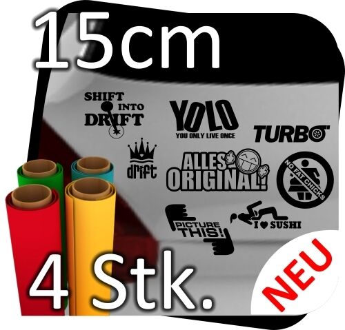 4Stk 15cm JDM OEM Aufkleber Sticker Shocker Decals Bomb Tuning Autoaufkleber
