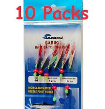 10 packs size #14 sabiki bait rigs 6 hooks With Red Feather saltwater lures- 486