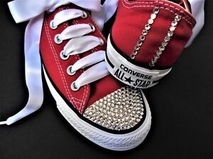 fde92a667b05 Image is loading CONVERSE-All-Starr-RED-with-SWAROVSKI-CRYSTALS-rhinestone-