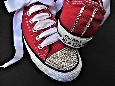 8ab923890115d CONVERSE All Starr RED with SWAROVSKI CRYSTALS rhinestone heel and toe  bride   eBay