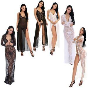 08655bdcbcb Sexy Women Sheer Lace Long Chemise Robe Sleepwear Nightwear   G ...