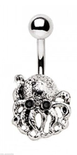 Belly Ring Octopus w//Black Eyes Animal Non Dangle Naval Steel Body Jewelry