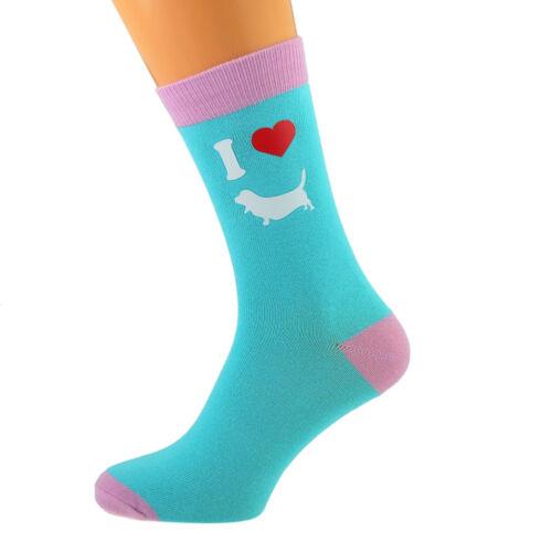 Unisex Turquoise /& Pale Pink Unisex Socks I Love Bassett Hounds Dog Design UK 5