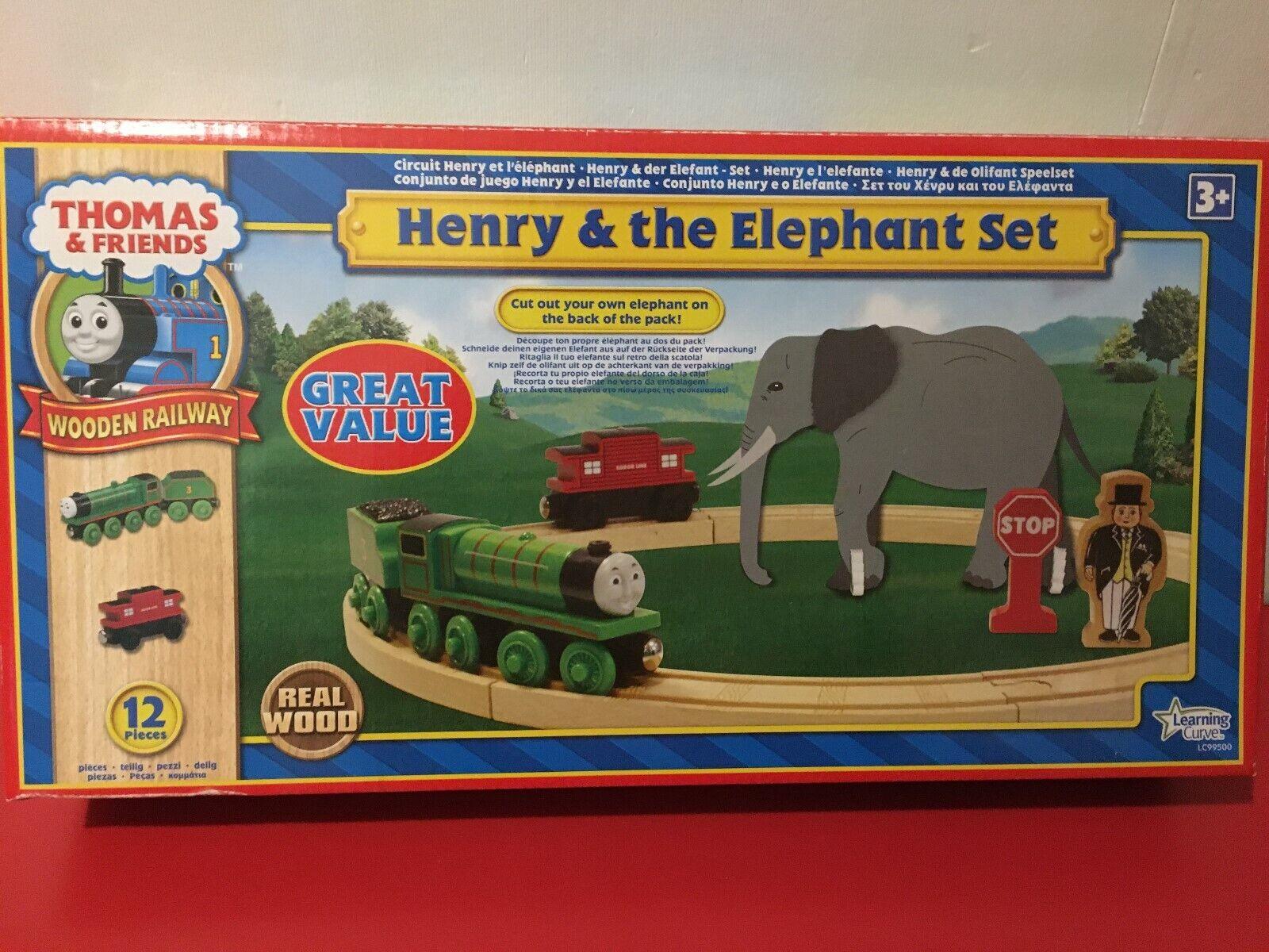 THOMAS & freunde HolzEN RAILWAY - HENRY & THE ELEPHANT SET - RARE - NEW IN BOX