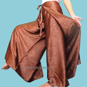 89205eab3f5 Details about Women's Thai Silk Fisherman Pants Brown Hippie Harem Yoga  Long Wrap Trousers NEW