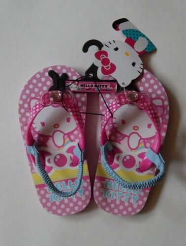 NEW Sanrio Hello Kitty Girls Kids Flip Flops Sandals Pink Blue Size Large 9-10