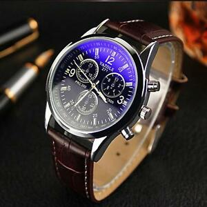2015 Fashion Men Leather Band Stainless Steel Sport Military Quartz Wrist Watch