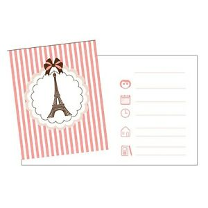 Details About PACK 8 PARISIENNE INVITATIONS EIFFEL TOWER PARIS PARTY SHABBY CHIC FRENCH FRANCE