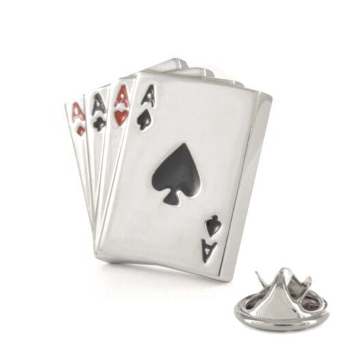 3D 4 Aces Hand Metal Pin Badge cards poker player holdem casino gambler AJTP168