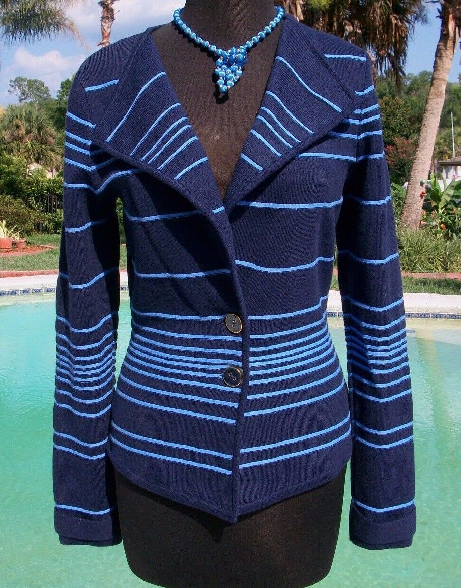 Cache Cotton Blend Top Jacket New XS S M  Navy and Lght Blau Stripe Stretch