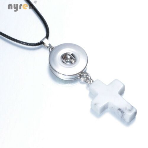 Stone Cross Shape Snap Pendant Necklace 20mm Fit 18mm Snap Button Snap Jewelry