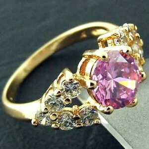 FS851-GENUINE-REAL-18K-YELLOW-G-F-GOLD-SOLID-PINK-DIAMOND-SIMULATED-ANTIQUE-RING
