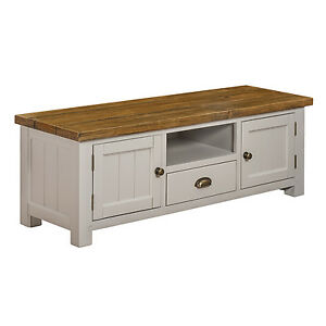 Wide 2 Door 1 Drawer Solid Rustic Painted Tv Cabinet Unit