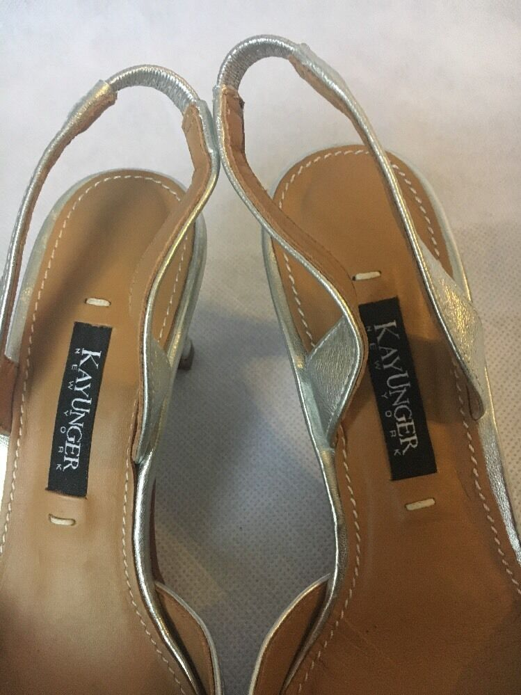 NEW Heels Kay Unger 'Fairle' Slingback Pump Pointy Heels NEW Women  Silver Jewel 0a438f
