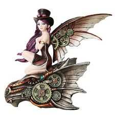Steampunk Fairy with Hat Riding Cyborg Dragon Sculpture Fantasy Figurine Decor