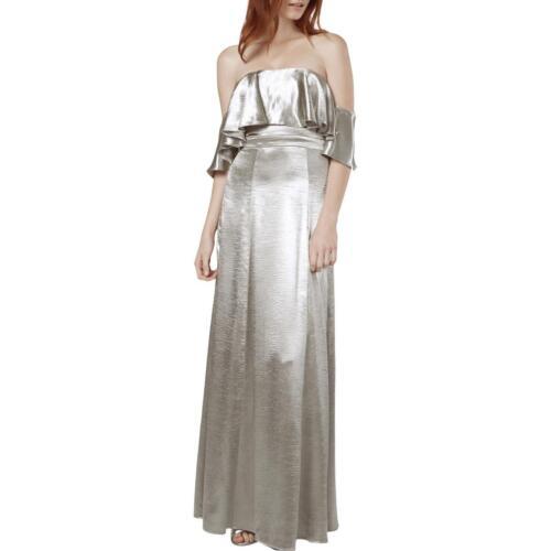Fame And Partners Womens Silver Metallic Ruffled Evening Dress 6 BHFO 2626