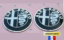 Logo ALFA ROMEO 56,5mm pour VOLANT - BLACK - sigle emblem badge sticker aufkleb.
