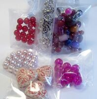 6 Small Bags Of Jewelry Making Supplies Lot-etched Acrylic-glass Beads-hearts