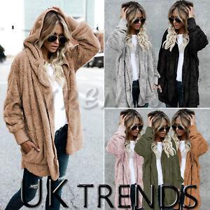 Uk Womens Teddy Hooded Fluffy Coat Fleece Faux Fur Jacket Ladies