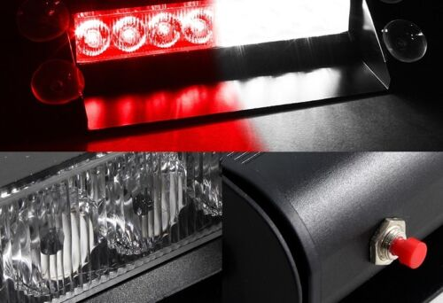 8-LED White//Red Emergency Dashboard Windshield Flashing Strobe Light Universal 2