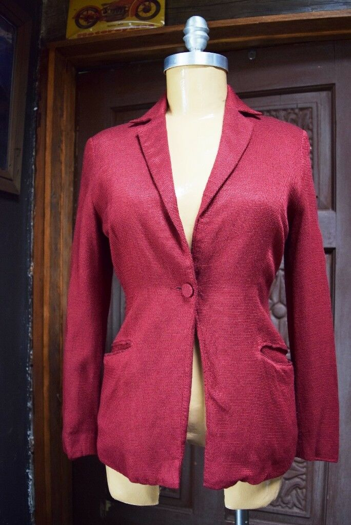 MARISA Womens Red Blazer European Imported Fabric Size 12   SMALL