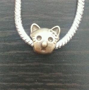Kitty-Cat-Spacer-Dangle-Bead-fits-European-Charm-Bracelets-Necklace-Bronze-Tone