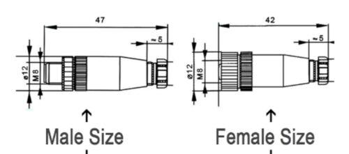 4 Pin Straight Proximity Sensor Connector plug hex screw 3 M8 Male Female
