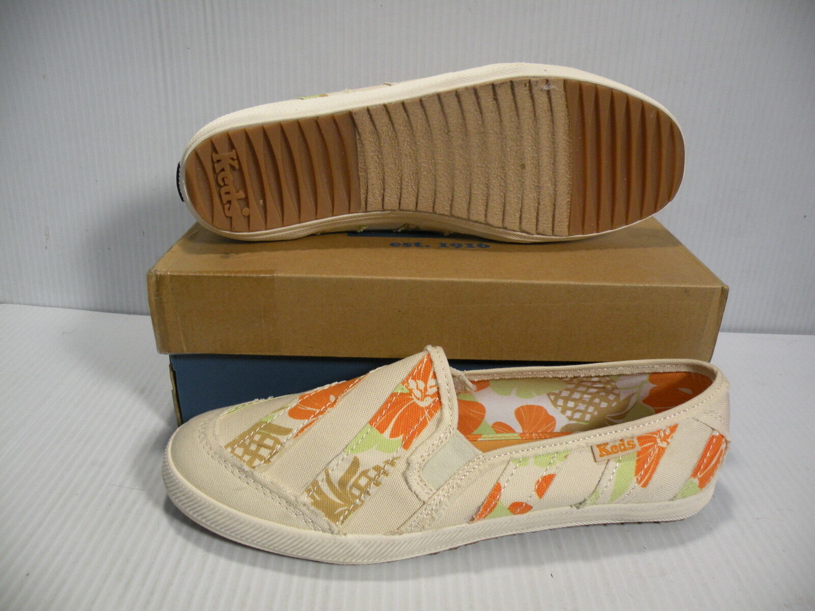 KEDS CH MOSAIC STRIPE LOW femmes chaussures blanc Orange WF20888 Taille 9 NEW