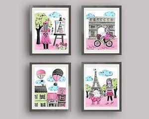 PARIS WALL ART DECOR BABY GIRL NURSERY BEDDING ARTWORK PINK GRAY eiffel tower
