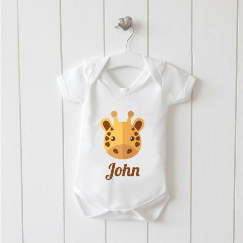 Giraffe Image Name is Personalised Vest Baby Grow 100/% Cotton Boys Girls Bodys