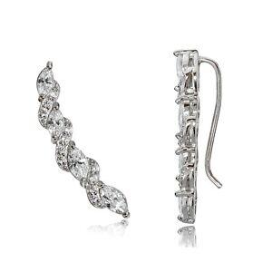 Sterling-Silver-Cubic-Zirconia-Twist-Crawler-Climber-Hook-Earrings