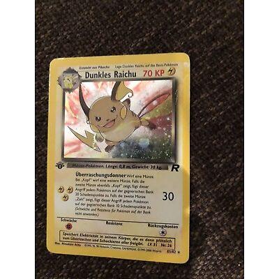 Pokémon Karte Dunkles Raichu - erste Edition - Nr. 83 / 82, Holo, neuwertig