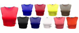 Womens-Crop-Top-Ladies-Sleeveless-Stretch-Vest-T-Shirt-Tee-Sizes-8-10-12-14