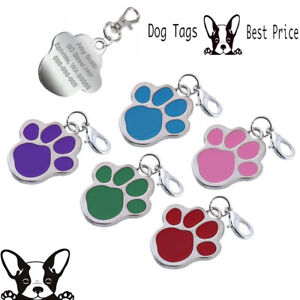 personalised engraved enamel paw print tag dog pet id tags free