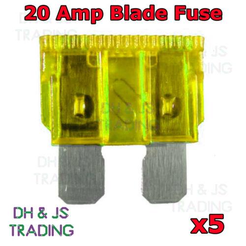 5x Yellow 20A 20 Amp Standard ATO Blade fuse for 12V 24V Car Van Bike Auto