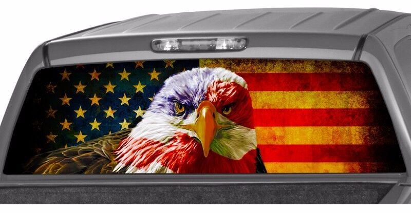 American Eagle Flag Banner Rear Window Graphic Decal Tint