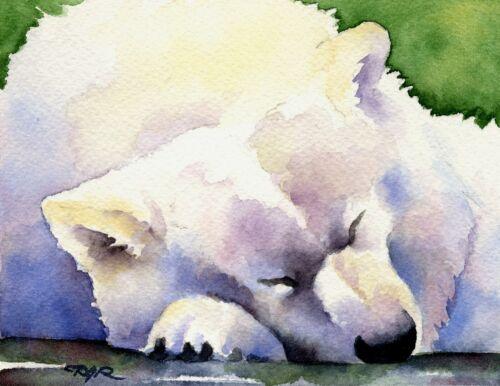 SAMOYED Watercolor Painting 8 x 10 Art Print by Artist DJ Rogers w//COA
