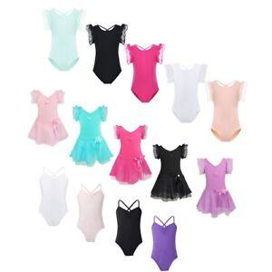 Kid-Girls-Ballet-Gymnastics-Leotard-Dance-Dress-Ruffled-Sleeve-Dancewear-Costume