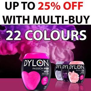 22 colori Dylon Fabric & vestiti tintura, Dylon macchina Dye Nero, Blu scuro, grigio
